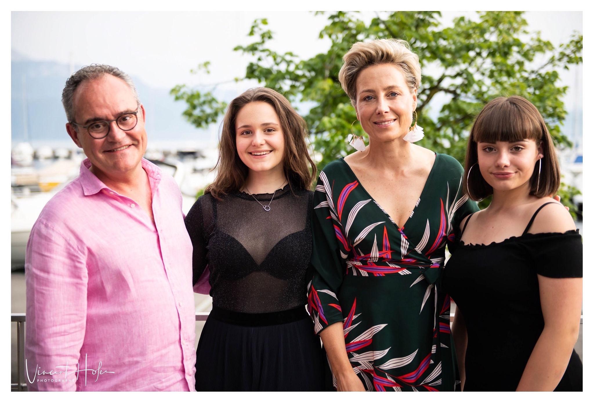 Nicolas Leuba, son épouse et ses deux filles